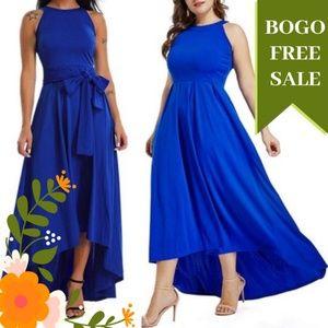 Dresses & Skirts - Cobalt Blue Halter Neck High Low Maxi Dress